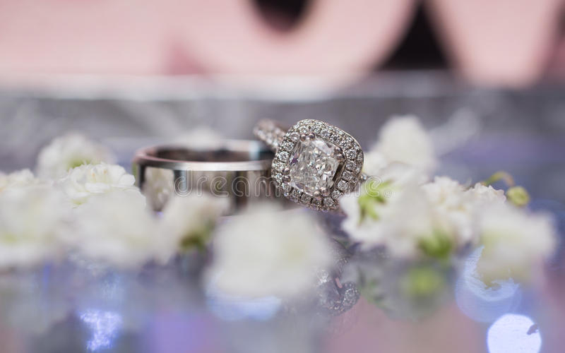 Pair of silver wedding rings stock photo
