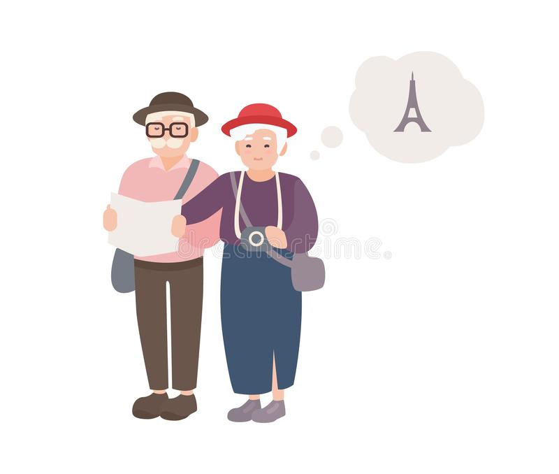 Pair of smiling elderly male and female tourists with map. Happy old couple traveling world. Grandparents on vacation in vector illustration