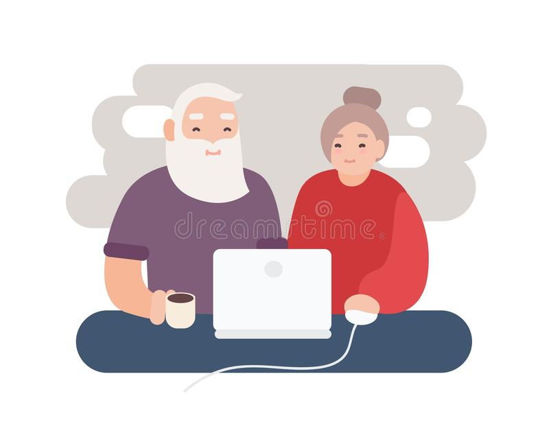 Pair of smiling elderly man and woman surfing internet together. Happy old couple watching video on laptop. Grandparents royalty free illustration
