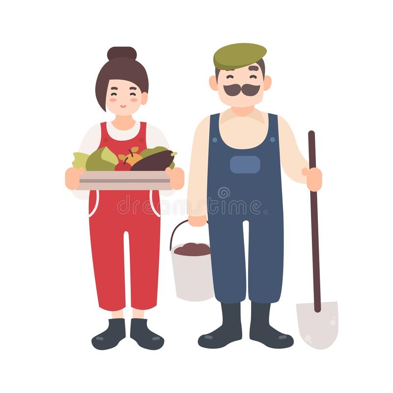Pair of smiling male and female farm or garden workers carrying gathered harvest, shovel and bucket. Cute village couple vector illustration