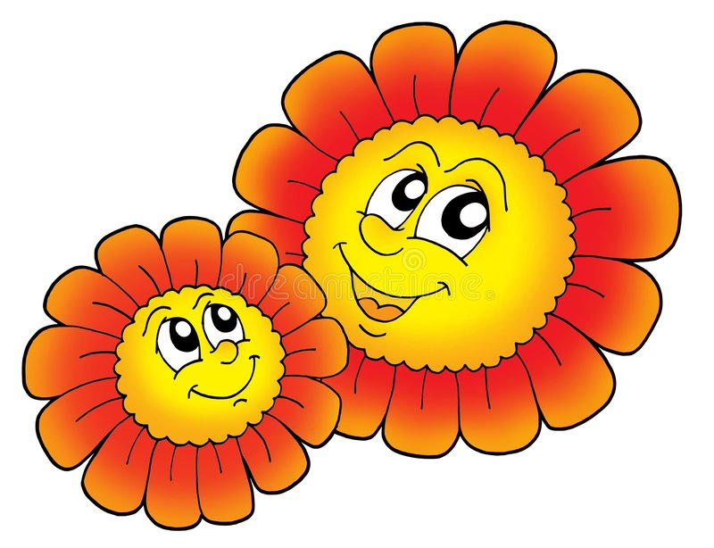 Pair of smiling red flowers vector illustration