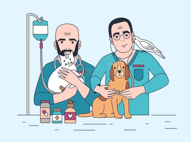 Pair of smiling veterinarians holding cat, dog and parrot. Happy vets with pets. Doctors working in veterinary clinic. And curing domestic animals. Colorful stock illustration