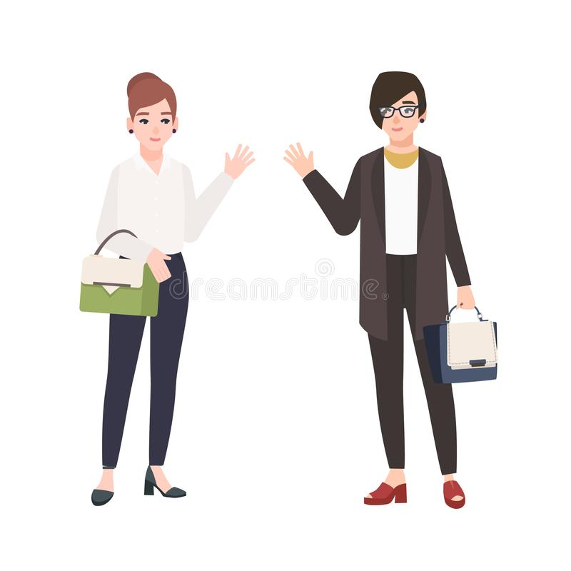 Pair of smiling women dressed in business clothes or female office workers greet each other. Friendly colleagues vector illustration