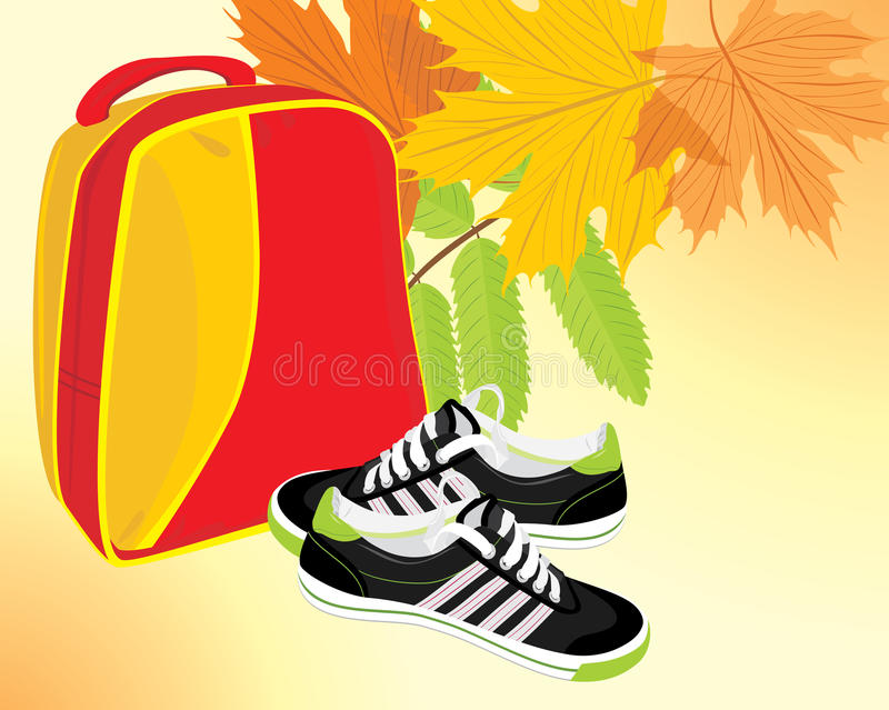 Pair of sneakers and backpack stock photo