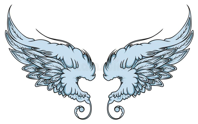 Pair of spread out eagle bird or angel wings royalty free stock photography