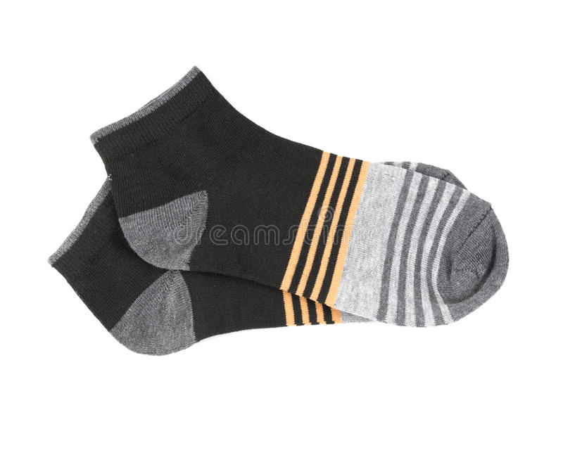 Pair striped socks isolated on a white background stock image