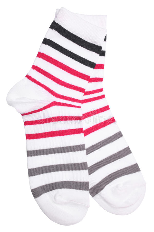 Pair of striped socks. Isolated on white background stock image