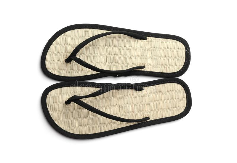 Pair of stylish flip flops on white background, top. View royalty free stock photos