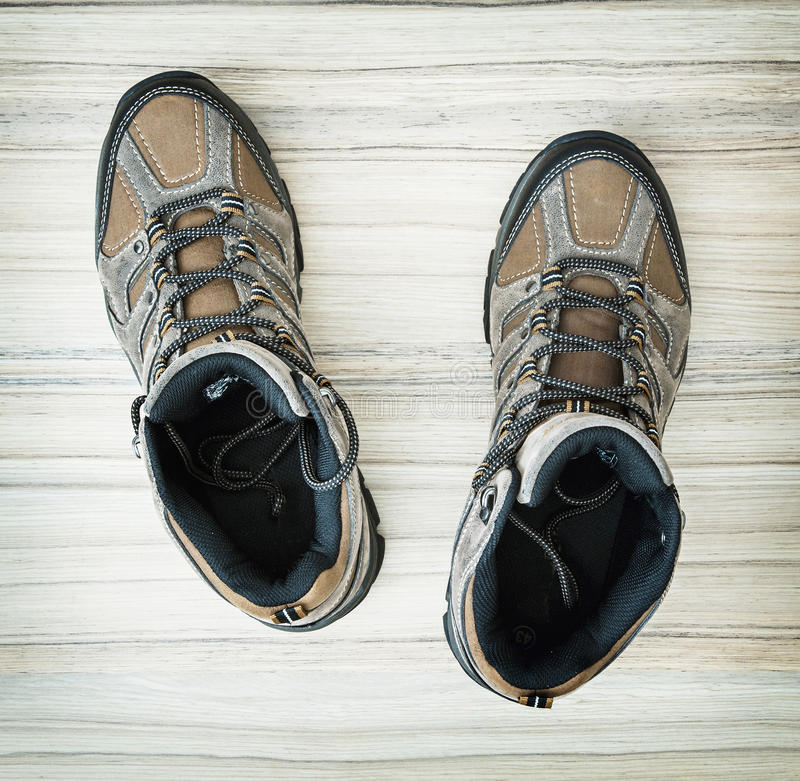 Pair of stylish teenage outdoor shoes, beauty and fashion royalty free stock photography