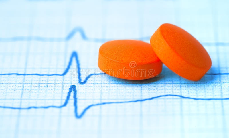 Pair Of Tabs On The Cardiogram Stock Image