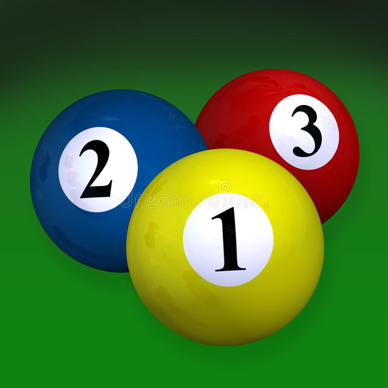 Pair of three billiard balls royalty free stock photo