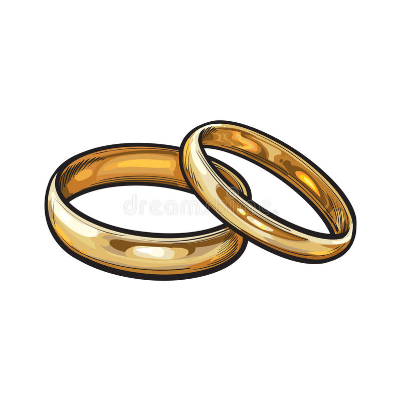 Pair of traditional golden wedding rings for bride and groom stock illustration