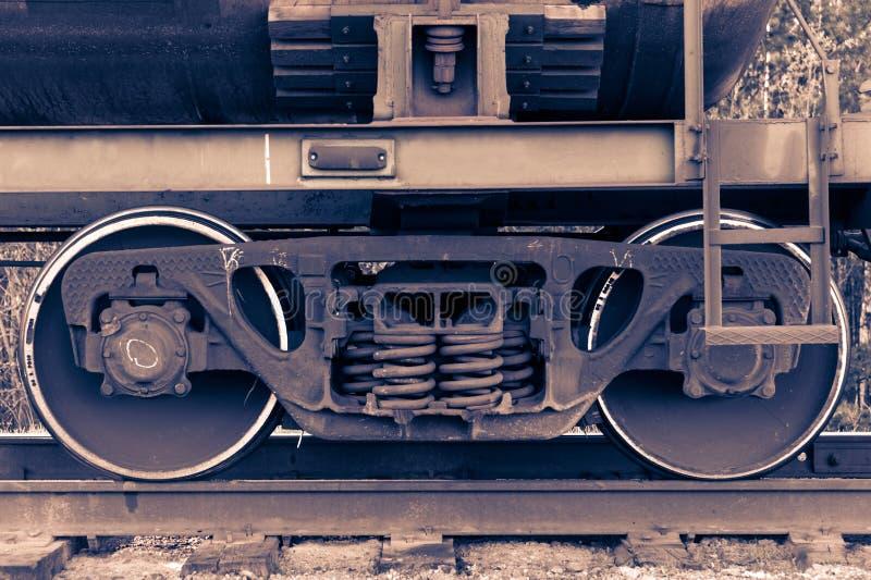 Pair of train wheels. Closeup shot. Railway transportation concept stock photography
