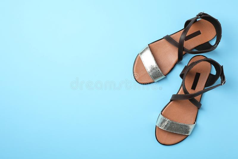 Pair of trendy women`s shoes color background, top view. Pair of trendy women`s shoes on color background, top view stock photography