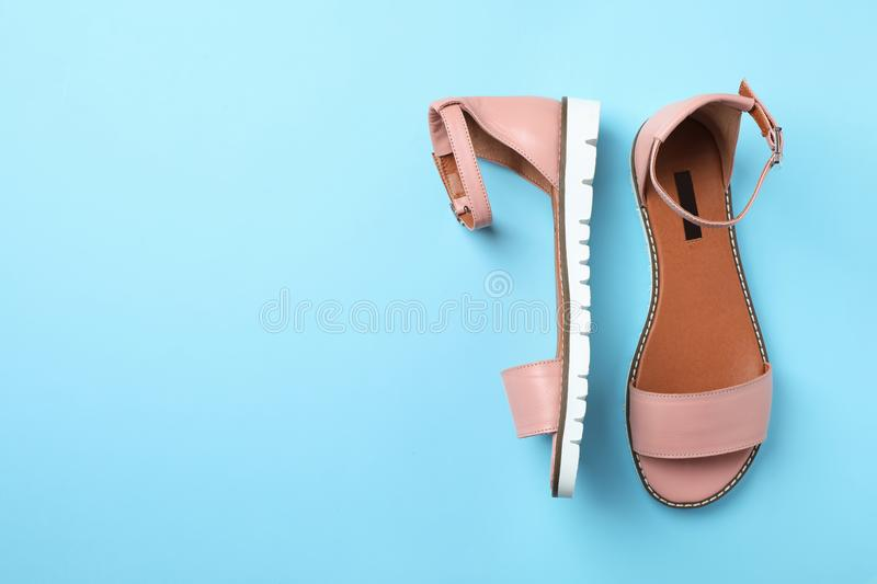 Pair of trendy women`s shoes. On color background, top view royalty free stock photos