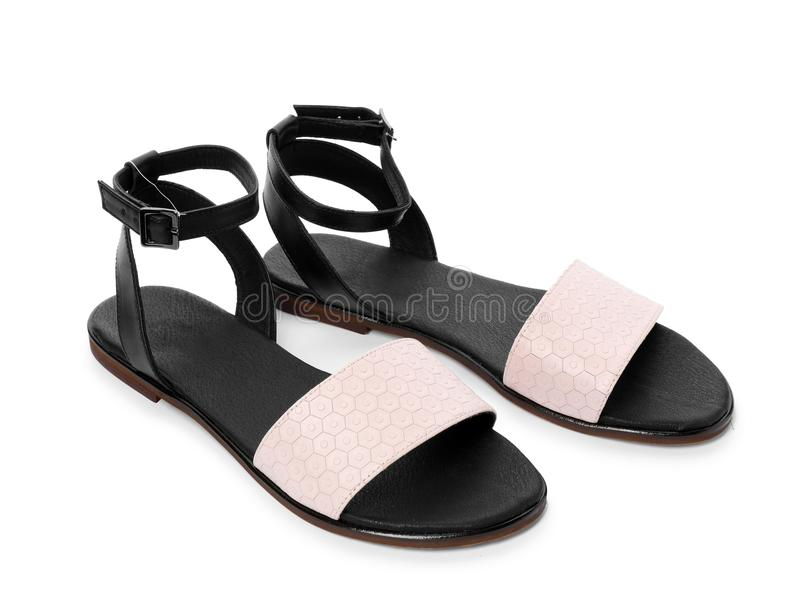 Pair of trendy women`s shoes royalty free stock photography