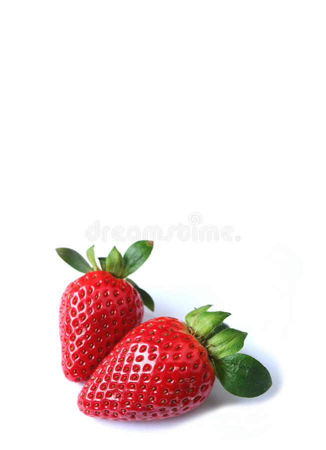Pair of Vibrant Red Fresh Ripe Strawberry Fruits Isolated on White Background stock photos