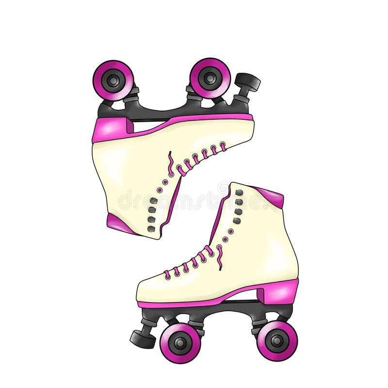 Pair of vintage colorful roller skates with pink laces, sketch style, hand drawn illustration isolated on white background - Illus royalty free illustration
