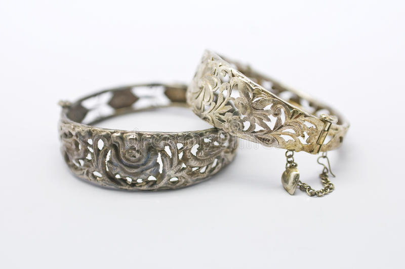 Pair of Vintage Silver Bracelets royalty free stock images