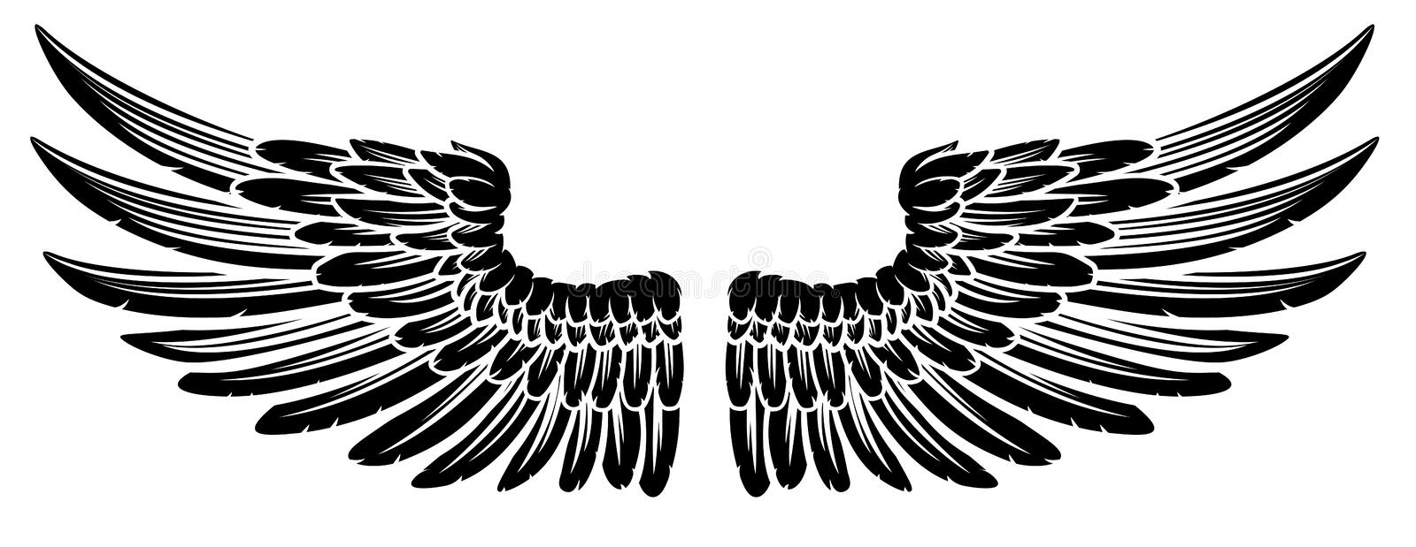 Pair of Vintage Style Wings royalty free illustration