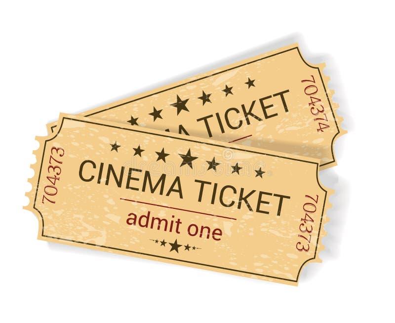 Pair of vintage yellowish old cinema tickets vector illustration