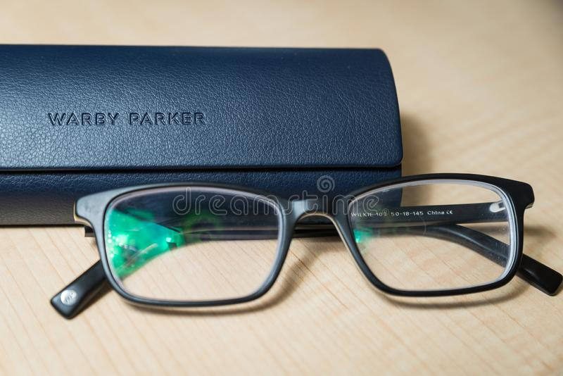 A pair of Warby Parker Glasses stock image