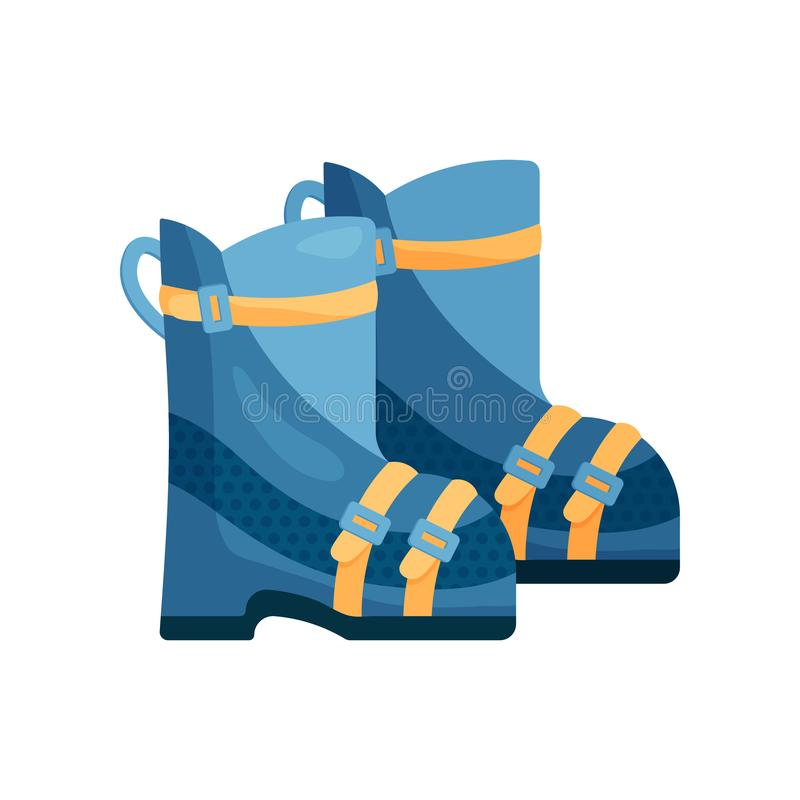 Close-up view of a warm blue ski boots. Pair of warm blue ski boots with yellow accents and durable clasp isolated on a white royalty free illustration