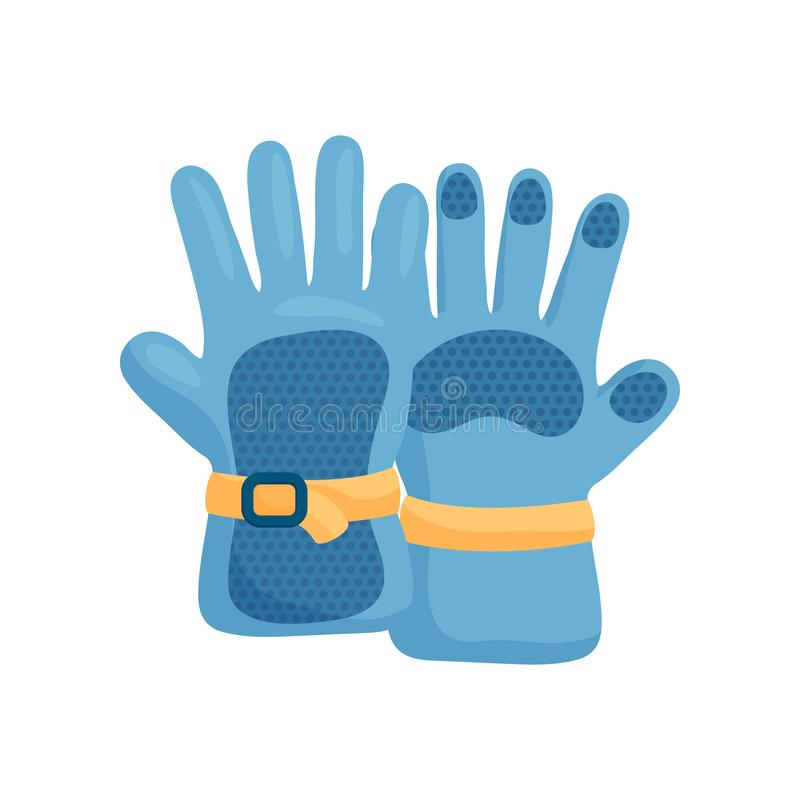 Close-up view of a warm blue ski gloves. Pair of warm blue ski gloves with yellow accents and durable clasp isolated on a white royalty free illustration