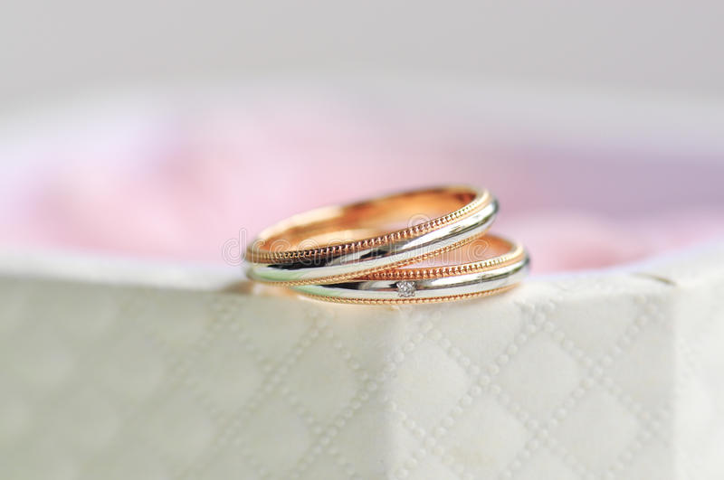 Pair of wedding ring sitting at the edge of box