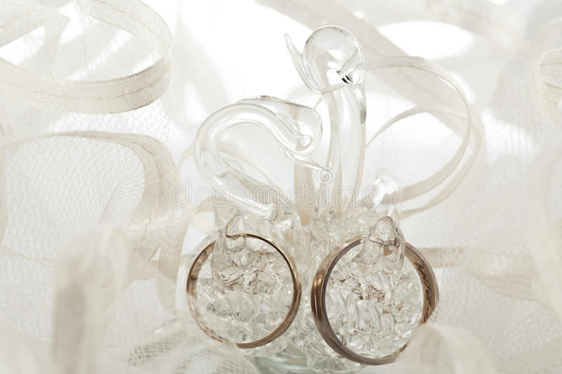 Pair of wedding rings in a swan-shaped container. Togetherness c stock photography