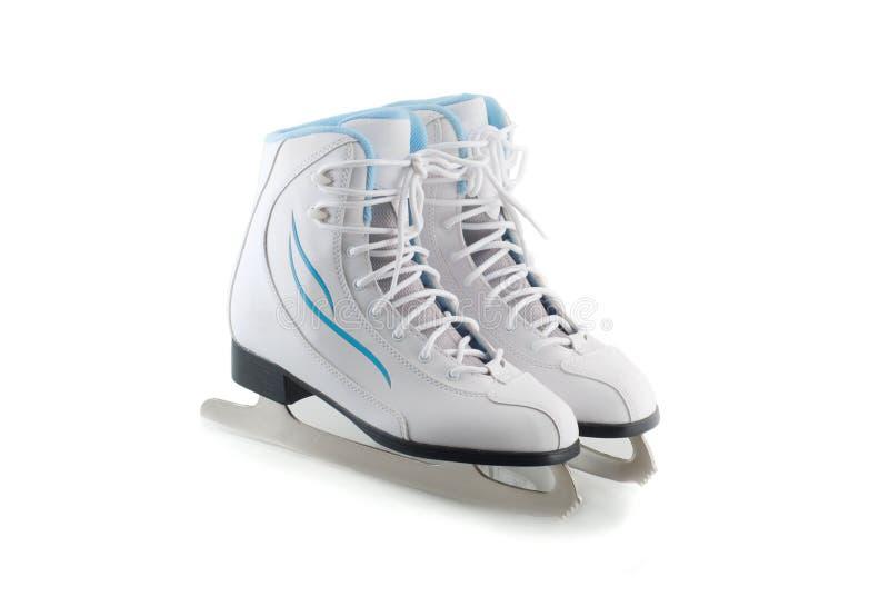 Pair of white figure skates. On white background stock photography