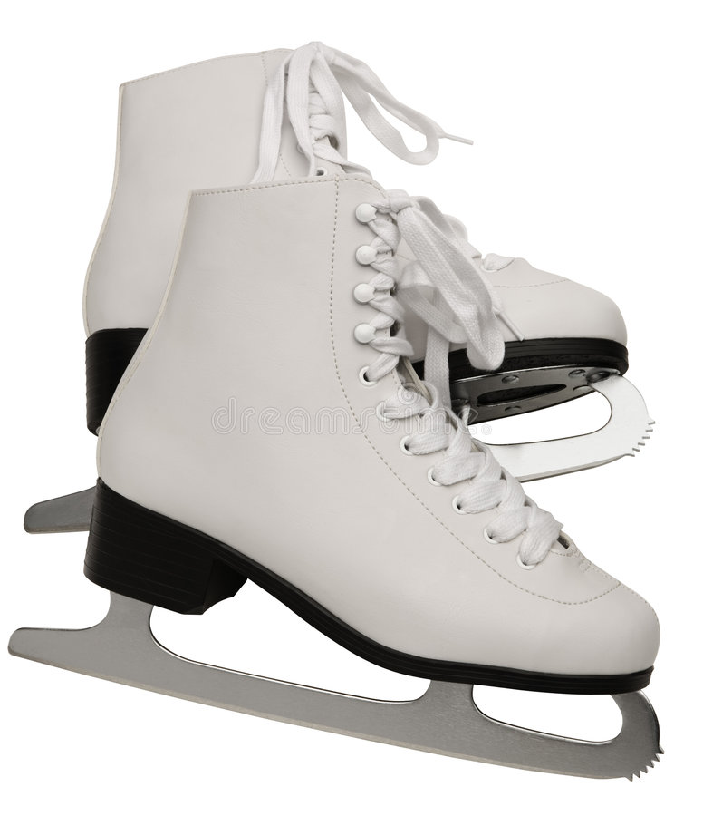 Pair of White Figure Skates. Clipping path inluded stock photo