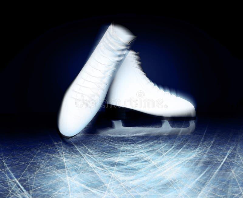 Pair of white Ice skates. Figure skates. Women`s ice skates. Tex royalty free stock photography