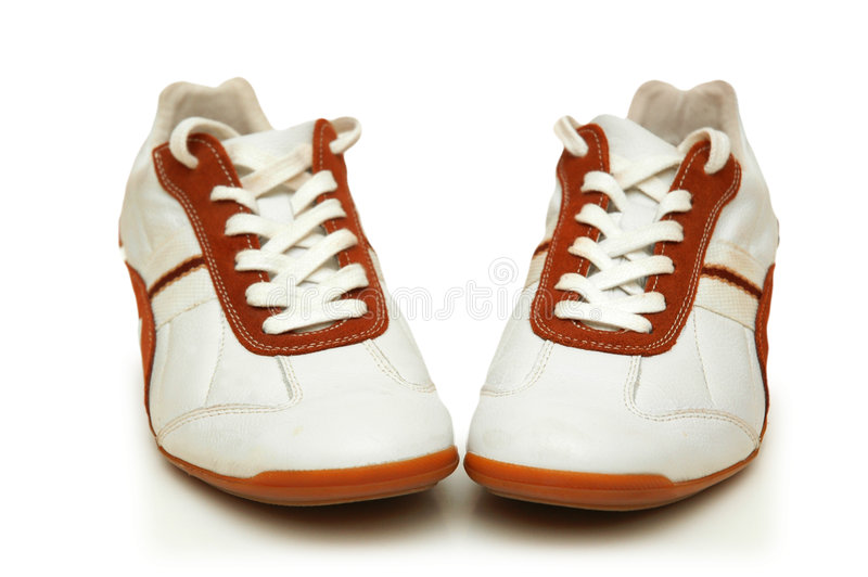 Download Pair of white trainers stock image. Image of jogging, field - 1414641