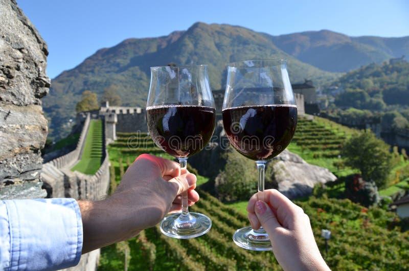 Pair of wineglasses. Bellinzona, Switzerland royalty free stock image