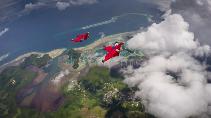 Pair of Wingsuit Flyers in Palau stock images