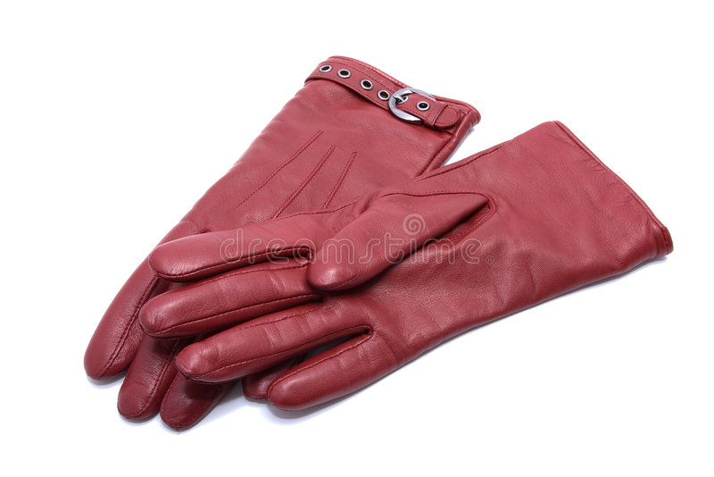 Pair of woman leather gloves stock photos