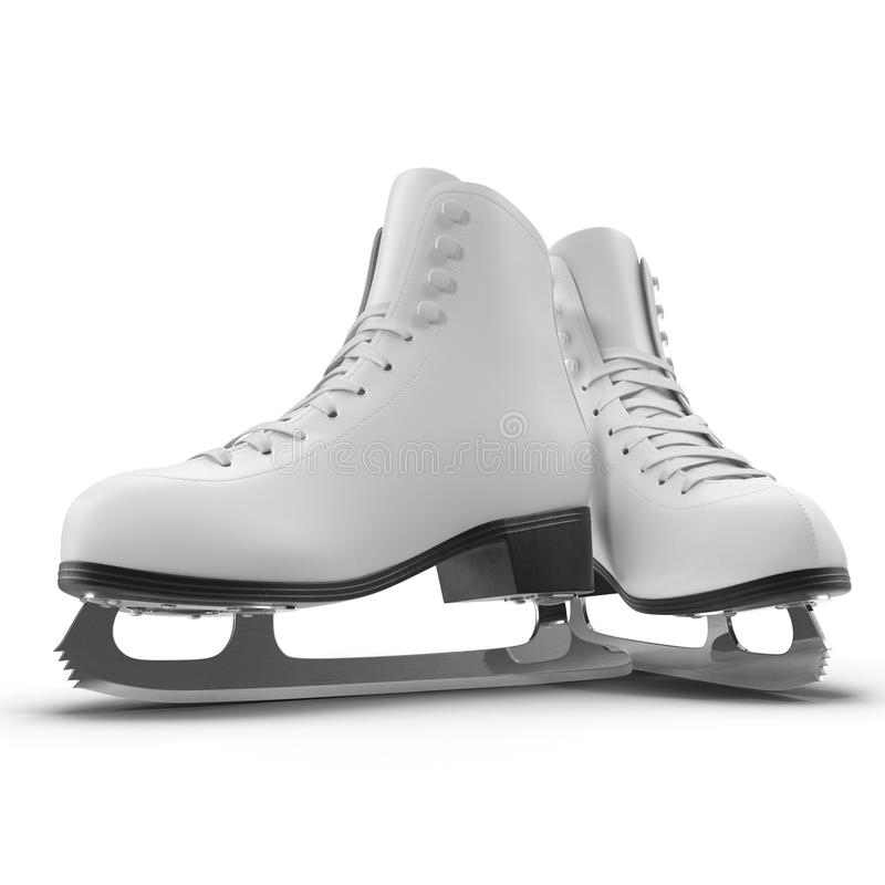 Pair of Women`s Figure Ice Skates Isolated on White. 3D illustration, clipping path. Pair of Women`s Figure Ice Skates Isolated on White Background. 3D royalty free illustration