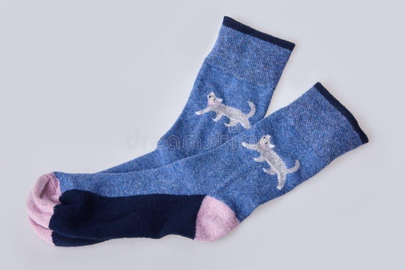 Pair of women`s socks isolated on white background. stock photo