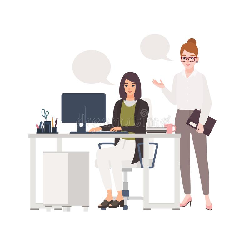 Pair of women working at office together. Female clerks dressed in smart clothes sitting in chair and standing at desk. With computer and talking to each other stock illustration