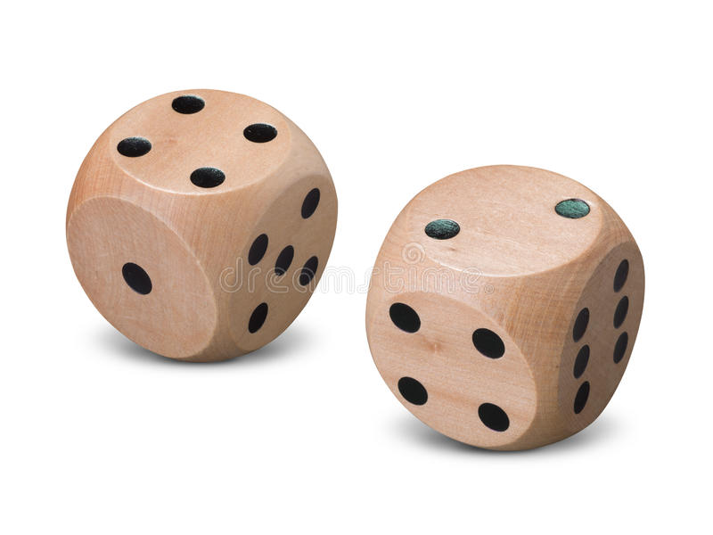 Pair of wooden dice on white background royalty free stock images