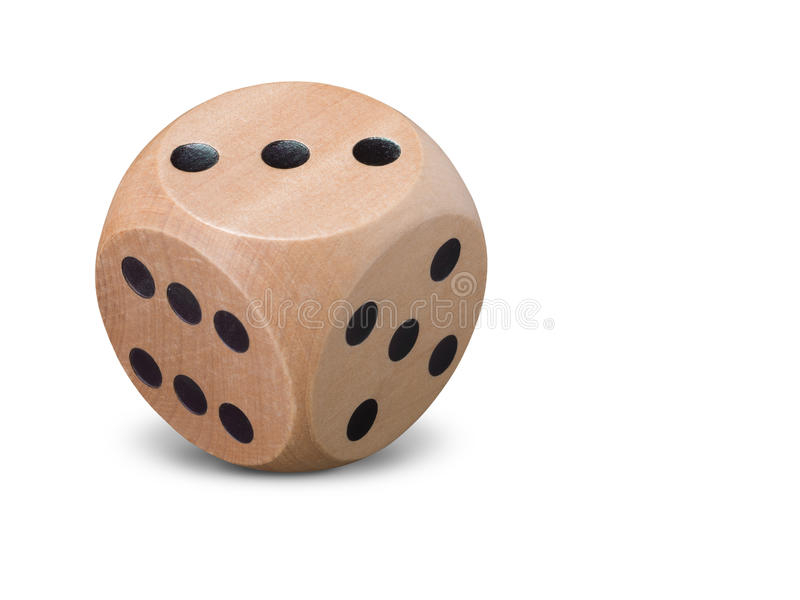 Pair of wooden dice on white background stock photo