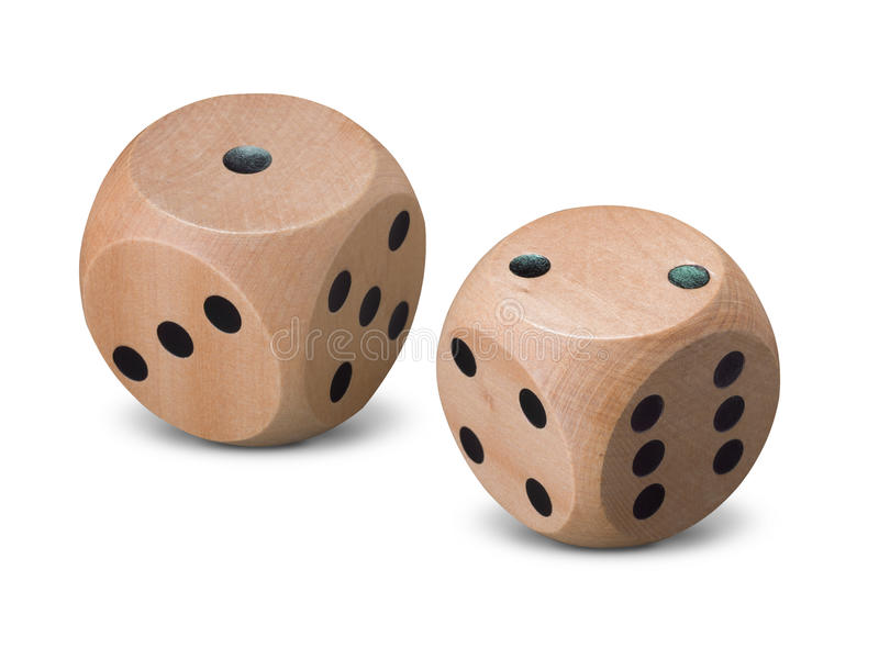 Pair of wooden dice on white background stock photography