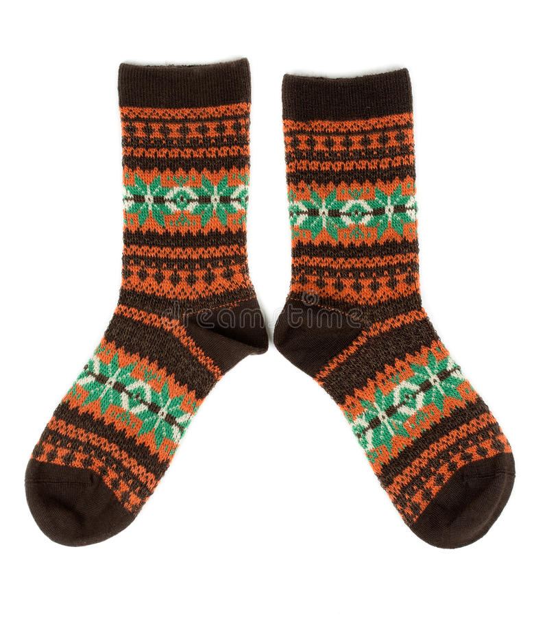 Download Pair Of Wool Socks With A Pattern Stock Image - Image: 28947643