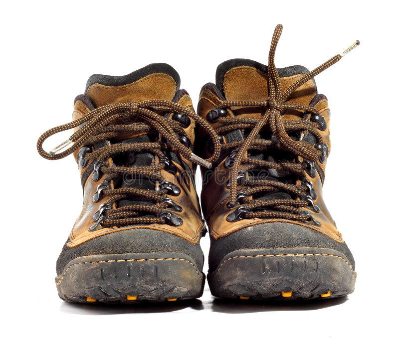 Pair of worn boots royalty free stock images