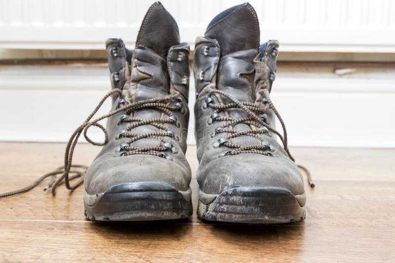 Pair of worn walking boots royalty free stock photography