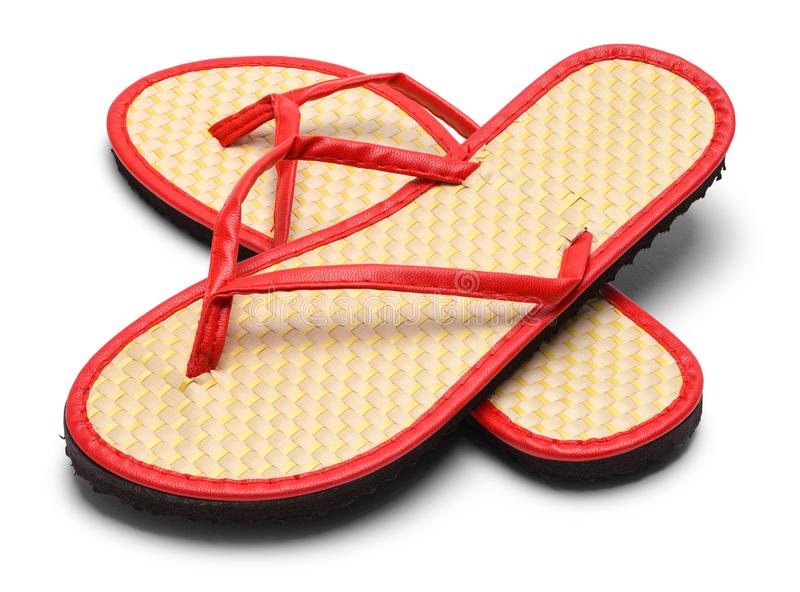 Pair Flip Flops. Pair of Woven Flip Flops Isolated on a White Background stock image