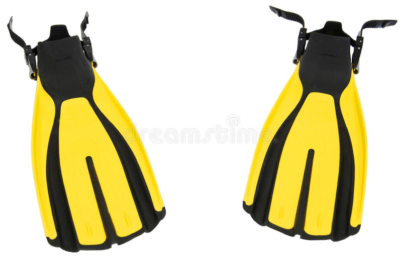 Pair of yellow flippers isolated on pure white bac royalty free stock photo