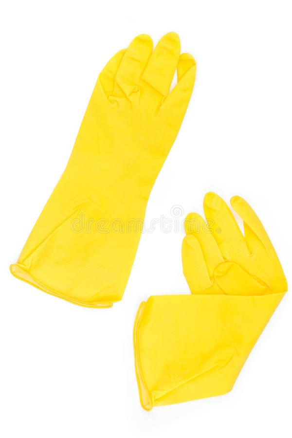 Pair Of Yellow Rubber Gloves Royalty Free Stock Image