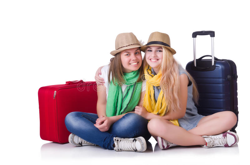 Download Pair of young students stock photo. Image of pink, background - 32810814